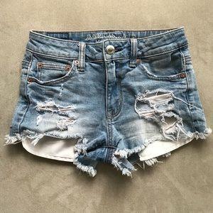 American Eagle Hi Rise Distressed Jean Shorts